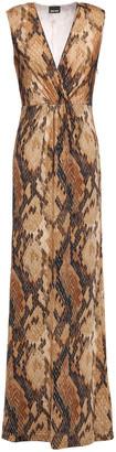 Just Cavalli Wrap-effect Snake-print Stretch-jersey Maxi Dress