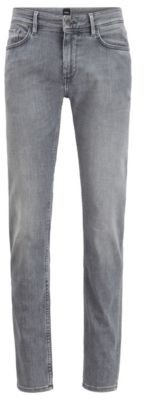 HUGO BOSS Slim Fit Jeans In Gray Cashmere Touch Italian Denim - Grey