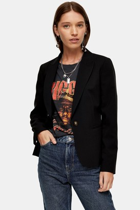 Topshop Womens Single Breasted Black Blazer - Black