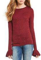 Chelsea & Violet Bell Sleeve Lurex Knit Top