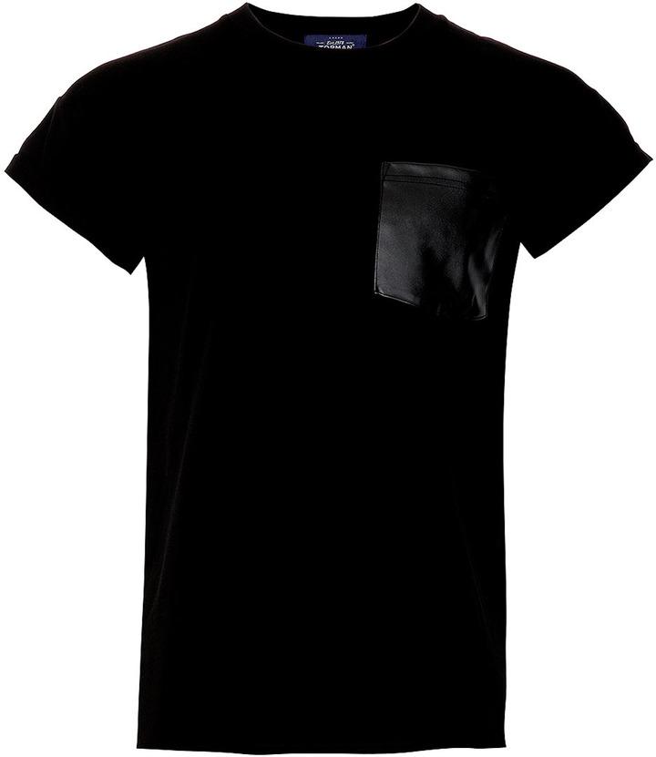 Topman Black Leather Look Pocket T-Shirt