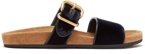 Prada Double Strap Velvet Sandals - Womens - Navy
