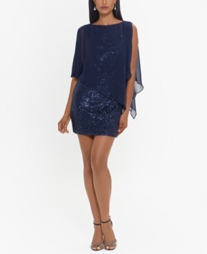 Xscape Evenings Sheer-Overlay Sequinned Sheath Dress