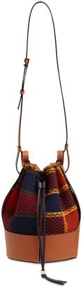 Loewe Balloon Tartan Wool & Leather Bag