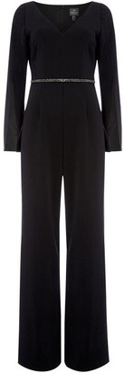 Adrianna Papell Long sleeve V neck jumpsuit