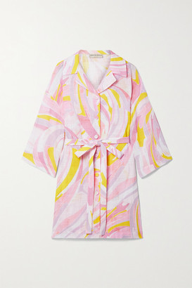 Emilio Pucci Belted Printed Cotton-gauze Mini Shirt Dress - Baby pink