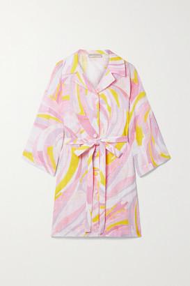 Emilio Pucci Belted Printed Cotton-gauze Mini Shirt Dress - Baby pink