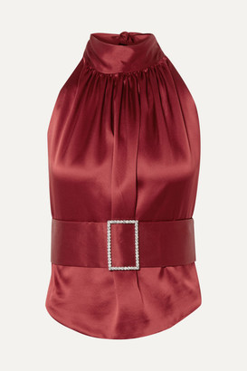 Harmur HARMUR - Open-back Belted Silk-satin Halterneck Top - Burgundy