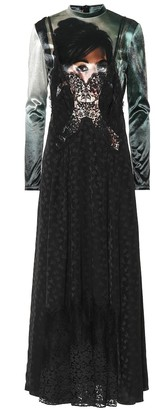 Stella McCartney Velvet and floral jacquard dress
