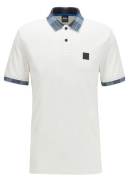 HUGO BOSS Cotton-jacquard polo shirt with checked collar and cuffs