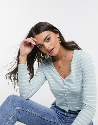 ASOS DESIGN fitted top with buttons in stripe