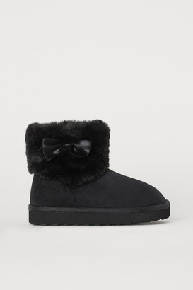 H&M Faux Fur-lined Boots - Black