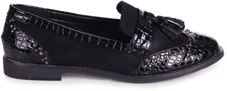 Linzi JOANIE - Black Patent Croc & Suede Slip On Loafer With Tassel and Studded Detail