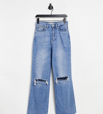 Stradivarius Petite straight leg 90s jeans with rips in blue