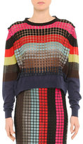 Marco De Vincenzo Grid-Striped Layered Cashmere Sweater