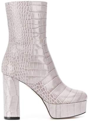 Paris Texas snakeskin effect platform ankle boots