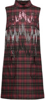 Giamba Sequin-embellished plaid wool-blend mini dress