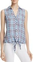 Soft Joie Creta Sleeveless Plaid Tied Waist Shirt - 100% Exclusive