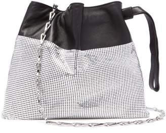 Paco Rabanne Drawstring Chain-mesh And Leather Pouch - Womens - Silver Multi