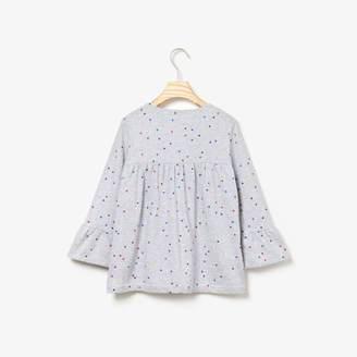 Lacoste Girls' Flounced Polka Dot Print Cotton T-shirt