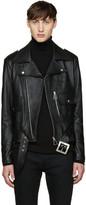Saint Laurent Black Leather Fringed Jacket