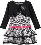 Nannette Toddler Girl Shrug & Zebra Print Dress Set