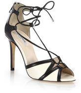 LK Bennett Adriana Tie-Front Leather Peep-Toe Sandals