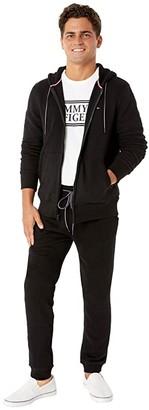 Tommy Hilfiger Plains Hoodie Zip-Up Sweatshirt (Classic Deep Knit Black) Men's Clothing