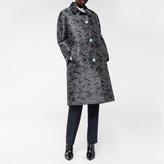 Paul Smith Women's Black Cotton-Silk 'Metallic Paisley' Overcoat