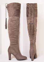 Missy Empire Candie Mocha Suede Thigh High Heeled Boots