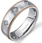 Ice Women's Matte Titanium Ring Band with CZ Accents and Milgrain Rose-Tone Edges