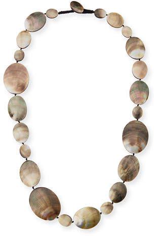 "Viktoria Hayman Long Shell Disc Necklace, 44"""