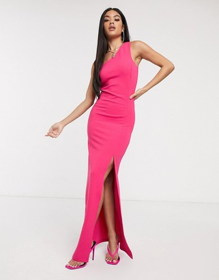 Scarlet Rocks one shoulder jersey maxi dress with high split in pink
