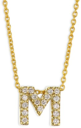 Roberto Coin Tiny Treasures Diamond & 18K Yellow Gold Initial M Necklace