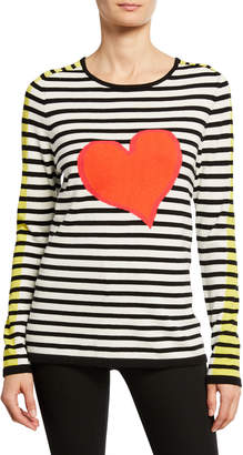 LISA TODD Striped Double Heart Intarsia Cotton Sweater