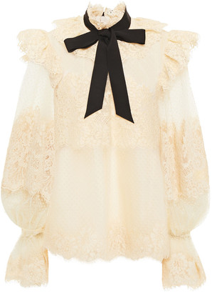 Zimmermann Grosgrain-trimmed Flocked Tulle And Lace Blouse
