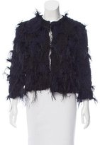 Givenchy Feather & Silk-Accented Cardigan