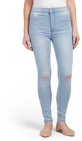 Juniors Super High Rise Skinny Knee Slit Denim Jeans