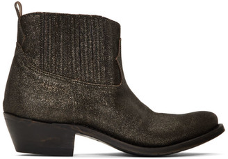 Golden Goose Black and Gold Glitter Crosby Boots