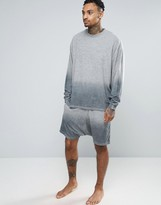 Asos Dip Dye Drop Crotch Shorts In Towelling