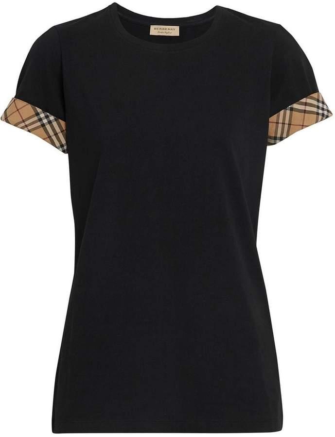 Burberry Check Detail Stretch Cotton T-shirt