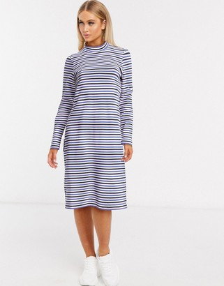 Monki stripe high neck t-shirt dress