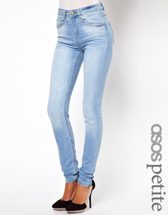 Asos Ridley Supersoft High Waisted Ultra Skinny Jean In Ice Blue Vintage Wash