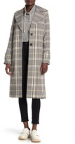 AVEC LES FILLES Plaid Notch Collar Trench Coat