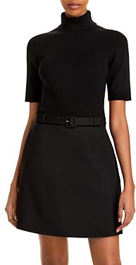 Theory Belted Turtleneck Dress