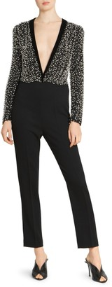 Givenchy Faux-Pearl Silk & Wool Jumpsuit