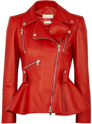 Alexander McQueen Red peplum leather biker jacket