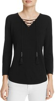 T Tahari Gianna Lace-Up V-Neck Sweater