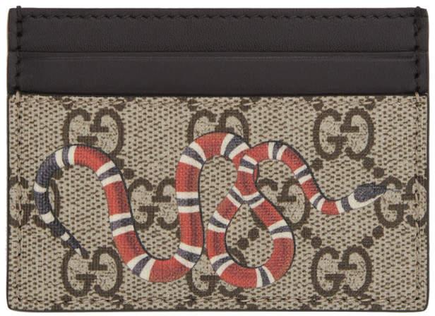 Gucci Beige GG Supreme Snake Card Holder