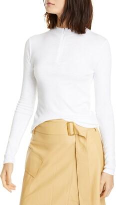 Vince Half Zip Cotton Blend Sweater